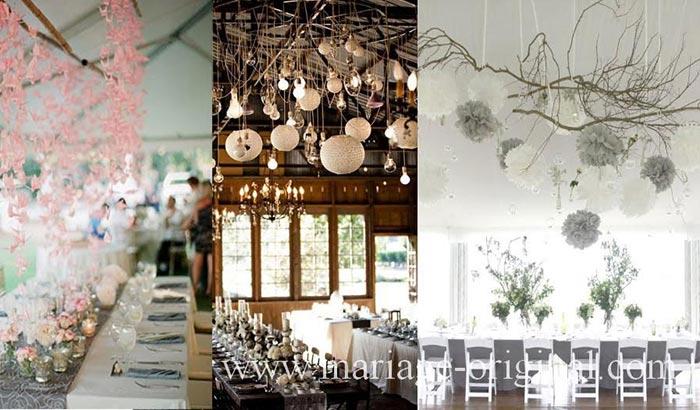 decoration de salle mariage en suspensions, pompon en papier de soie suspendu