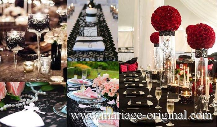decor table dentelle, boules de fleurs rouges geantes centre de table