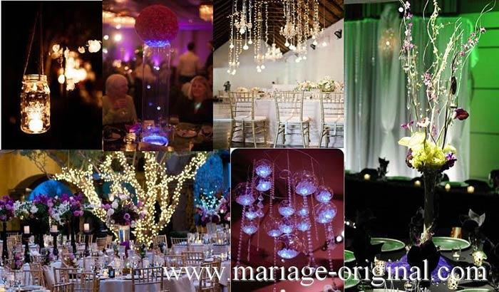 decor de table mariage illuminé, minis boules lumineuse, guirlande minis boules lumineuses, centre de tablemariage originale