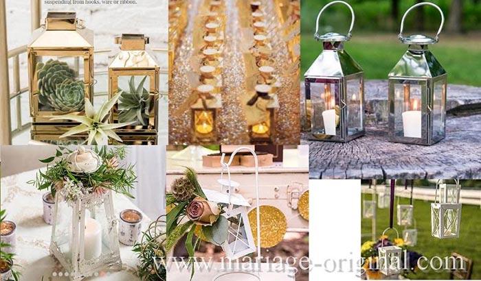 lanterne en métal, decor centre table mariage lanterne en metal