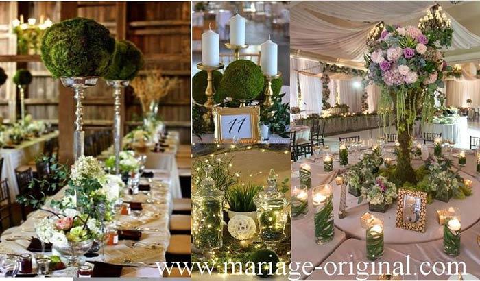 decors mariage en mousse naturelle, theme champetre, centre de table en mousse naturelle
