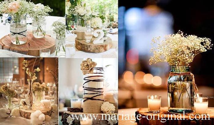 Decor mariage champetre, centre table mariage champetre, rondins en bois, accessoire en jute